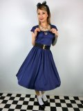 ☆Lindy Bop☆Libby Twilight Blue Swing Dress and Bolero Set 13号