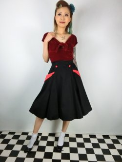 画像1: ☆Collectif☆STELLA SWING SKIRT Black/Red 15号