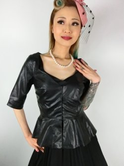 画像1: ☆Collectif☆DITA PU PEPLUM TOP 15号