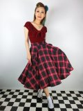 ☆Collectif☆ODETTE TARTAN MIDI SKIRT Red 15号