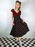 ☆Collectif☆NATALIA WARM CHECK SWING SKIRT Black 5号