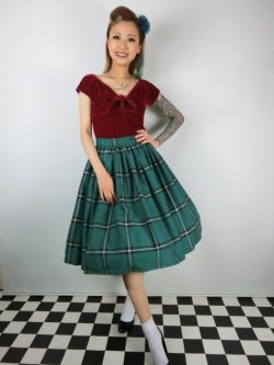画像2: ☆Collectif☆VINTAGE JASMINE EVERGREEN CHECK SWING SKIRT Green 15号