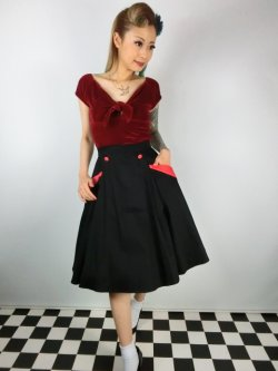 画像2: ☆Collectif☆STELLA SWING SKIRT Black/Red 17号