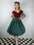 ☆Collectif☆VINTAGE JASMINE EVERGREEN CHECK SWING SKIRT Green 15号