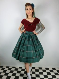 画像1: ☆Collectif☆VINTAGE JASMINE EVERGREEN CHECK SWING SKIRT Green 9号