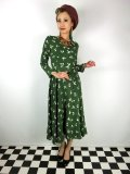 ☆Collectif ☆ WILLA PRESSED FLORAL WRAP DRESS Olive Green 17号
