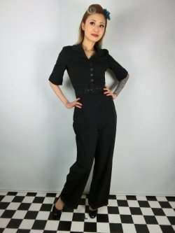 画像2: ☆Collectif☆ VINTAGE ZOE JUMPSUIT Black 15号