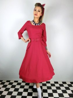 画像2: ☆Collectif ☆ IVY CREPE SWING DRESS Red 17号