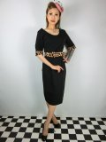☆Collectif☆ JUNE LEOPARD PRINT TRIM PENCIL DRESS Black 11号