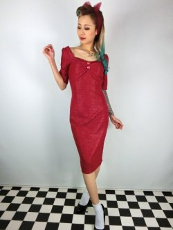 画像2: ☆Collectif☆VINTAGE DOLORES HALF SLEEVE RETRO PENCIL DRESS Burgundy 15号