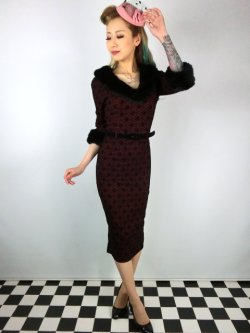 画像1: ☆Collectif☆PATRICE FAUX FUR COLLAR DRESS Wine 15号