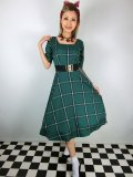 ☆Collectif☆VINTAGE AMBER EVERGREEN CHECK SWING DRESS 17号