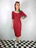 ☆Collectif☆VINTAGE DOLORES HALF SLEEVE RETRO PENCIL DRESS Burgundy 9号
