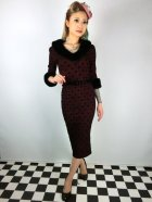 他の写真1: ☆Collectif☆PATRICE FAUX FUR COLLAR DRESS Wine 15号
