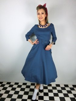 画像2: ☆Collectif ☆ IVY CREPE SWING DRESS Blue 11号