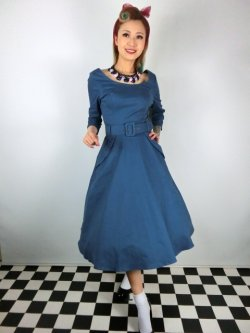 画像1: ☆Collectif ☆ IVY CREPE SWING DRESS Blue 9号