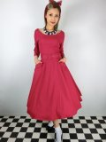 ☆Collectif ☆ IVY CREPE SWING DRESS Red 15号
