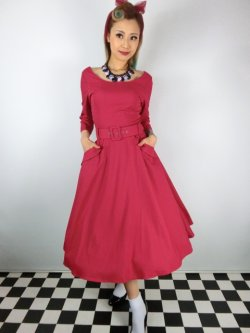 画像1: ☆Collectif ☆ IVY CREPE SWING DRESS Red 13号