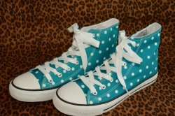 画像1: ☆Lindy Bop☆Teal Polka Dot Hi-Top Sneakers UK4(日本サイズ 約22.5cm)