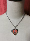 Heart Locket Poodle ネックレス Silver×Red