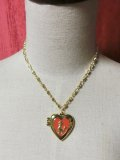Heart Locket Poodle ネックレス Gold×Red