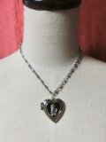 Heart Locket Poodle ネックレス Silver×Black
