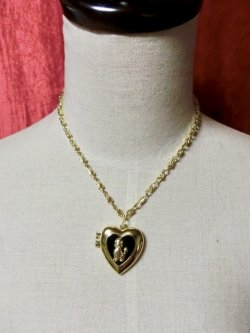 画像1: Heart Locket Poodle ネックレス Gold×Black