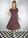 ☆Lindy Bop☆Bretta Brown Floral Polka Print Tea Dress 9号
