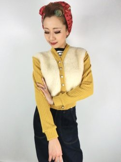 画像2: ☆Freddies of Pinewood☆1940s Cardigan Gold (XL)13号