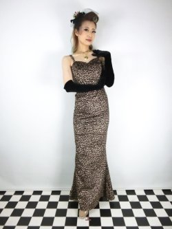画像1: ☆Collectif☆DELILAH LEOPARD VELVET MAXI DRESS 9号