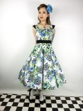 ☆H&R☆Blue and Green Floral Swing Dress 9号