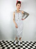☆Collectif☆WANDA POLKA DOT PENCIL DRESS White  17号
