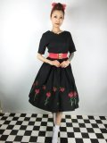 ☆HELL BUNNY☆Rosa Rossa 50s Dress Black 15号