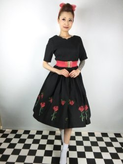 画像1: ☆HELL BUNNY☆Rosa Rossa 50s Dress Black 15号
