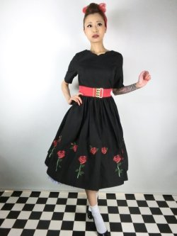 画像2: ☆HELL BUNNY☆Rosa Rossa 50s Dress Black 15号
