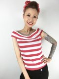 SOURPUSS ☆STRIPE SANDY TOP RED/WHITE (S) 9号