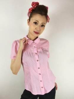 画像1: ☆Collectif☆ AVERY POLKA DOT BLOUSE Pink 15号