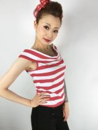 他の写真2: SOURPUSS ☆STRIPE SANDY TOP RED/WHITE (L) 13号
