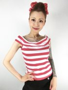 他の写真1: SOURPUSS ☆STRIPE SANDY TOP RED/WHITE (L) 13号