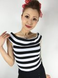 SOURPUSS ☆STRIPE SANDY TOP BLACK/WHITE (XXL)17号