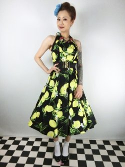 画像1: ☆H&R☆Lemon Print Swing Dress in Black 17号