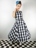 ☆Collectif☆FRANCES GINGHAM SWING DRESS Black 15号
