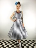 ☆COLLECTIF☆LUCILLE STRIPED SWING DRESS Navy/White 15号