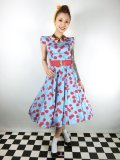 ☆H&R☆Blue Bombshell Cherry Tea Dress 11号