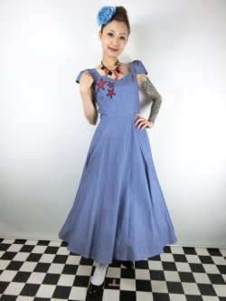 画像1: ☆Collectif☆MONIA STARFISH SWING DRESS Blue 9号
