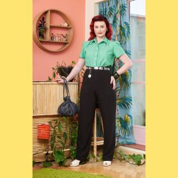 画像1: ☆Freddies of Pinewood☆1940's Black Lounge Pants (28インチ) 11号