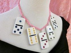 画像5: Dominoネックレス White×Pinkチェーン