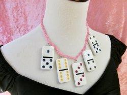 画像4: Dominoネックレス White×Pinkチェーン