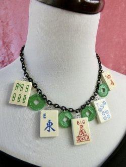 画像3: Wood MahJongg ネックレス Green Coin×Blackチェーン