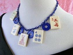 画像3: Wood MahJongg ネックレス Blue Coin×Blueチェーン